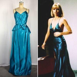 80's Sexy Satin Disco Peplum Gown with train XS/S
